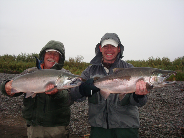 A double hook up with two nice fresh Coho Salmon from Alaska