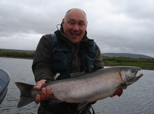 A nice Coho Salmon caught fly fishing in Alaska