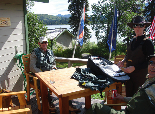 Relaxing at the lodge after a long day Salmon fly fishing