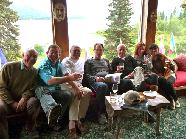 Just some of the group pose for a picture at the end of a great weeks fly fishing for Coho Salmon in Alaska