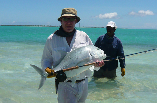 Another fly caught GT on the small pancake flats, the real Christmas Island no imitation