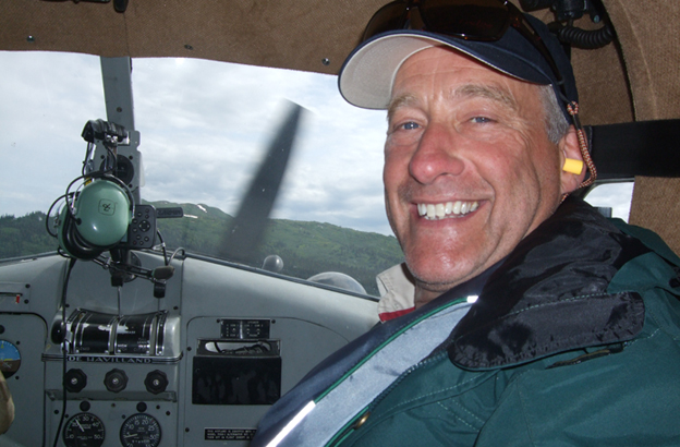 Paul enjoying the flight out to one of our many fly fishing rivers for salmon