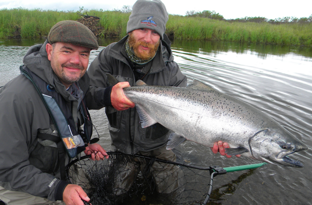robin with the guide holding a stunning king salmon