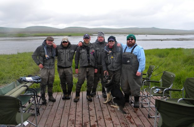 group picture of customers at one of our remote fly out salmon fly fishing lodges