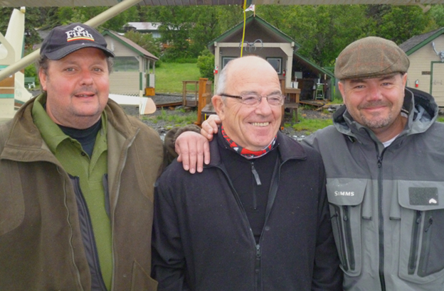 Three very happy customers and salmon anglers