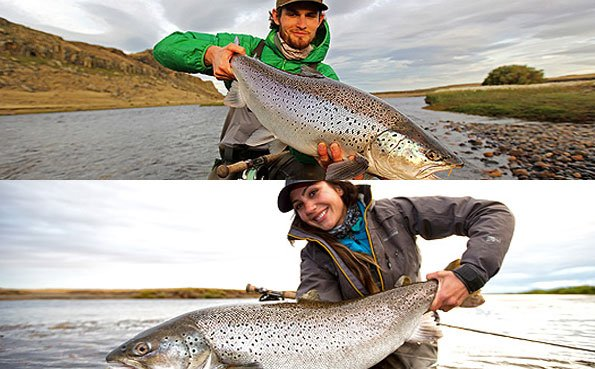 a pair of cracking sea trout from our argentina fly fishing destinations