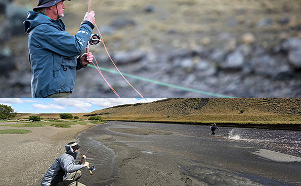 customers playing big sea trout on the fly rod at our sea trout destinations in argentina