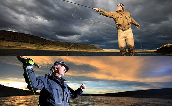 customers casting a fly rod for sea trout in argentina