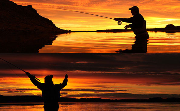 stunning sun set picture of customers fly fishing for sea trout in argentina