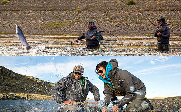 April Vokley playing a jumping sea trout with sportquest holidays in argentina