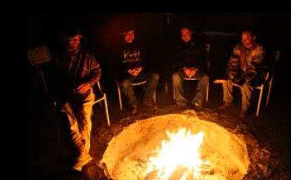 Friends sitting round a camp fire Argentina shooting report