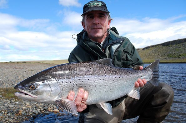 a real fresh chrome sea trout being held for a picture