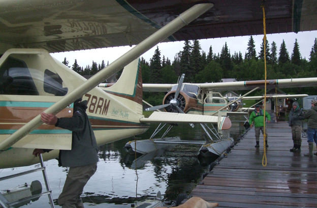 Planes waiting to fly all our customer out to fly fish for salmon Hosted Salmon Fishing Reports