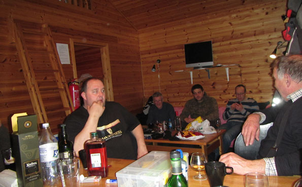 Guys drinking in our cabin Norway Fishing Report