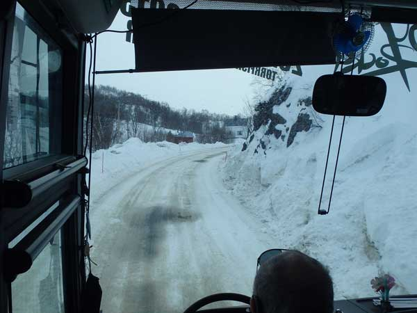 a very snowy road in this Norway Fishing Report