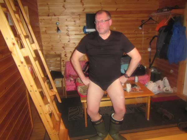 A man standing in his pants and wellies Norway Fishing Report
