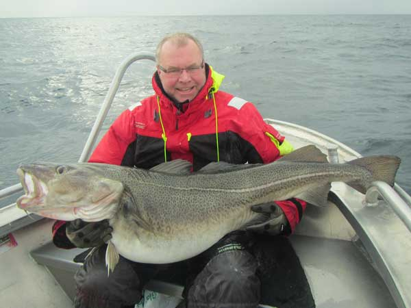 a 60lb cod caught from Norway Fishing Report soroya