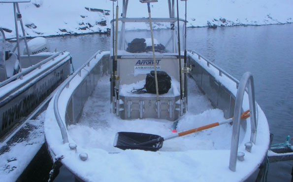 Norway Fishing Report Of the boats full of snow in Soroya