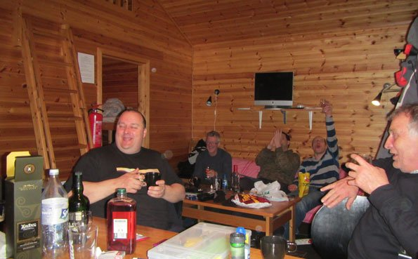 All the guys drinking at Soroya Norway Fishing Report