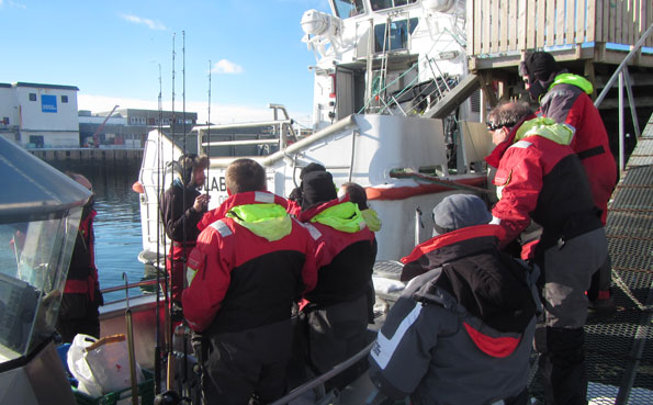 The first meeting on the boat of the anglers Fishing Report Norway