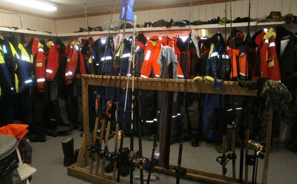 The dry room at Soroya Norway fishing report