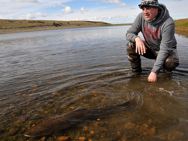 a nice release of a big sea trout at Las Buitreras Argentina
