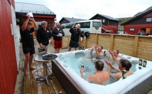 Drinking beer in hot tub Fishing Report Norway
