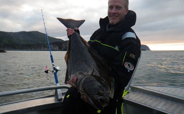 His biggest Halibut of the trip fishing Norway fishing report