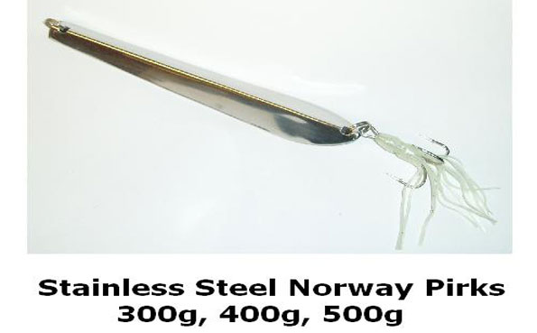 Silver chrome pirk used in Norway fishing report to catch cod