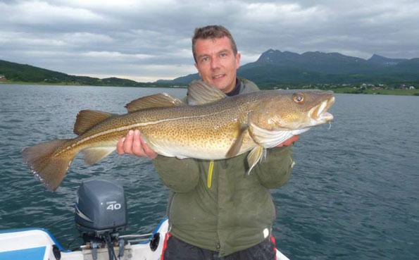 Man holding a sandbakken Cod Norway Fishing Report