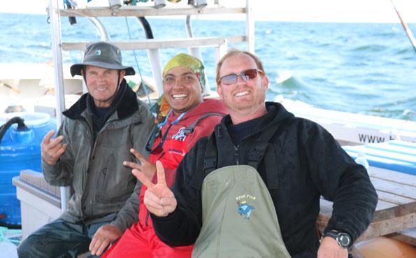 Three very happy anglers Bluefin Tuna Fishing Report