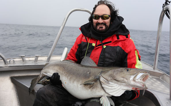 Man holding a huge cod fishing from Soroya Norway fishing report