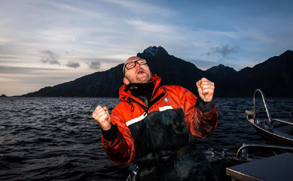 He is screaming with happiness for my Norway fishing report