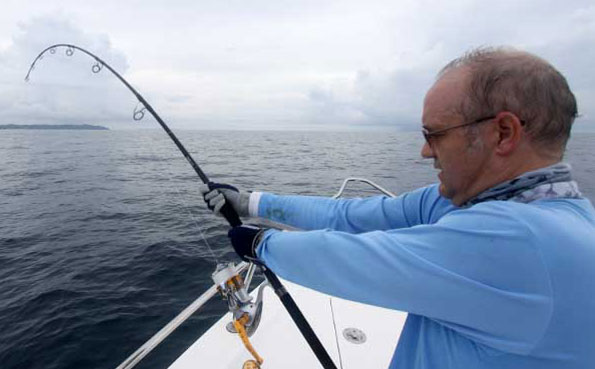 he is fighting the fish hard Fishing Report Andaman