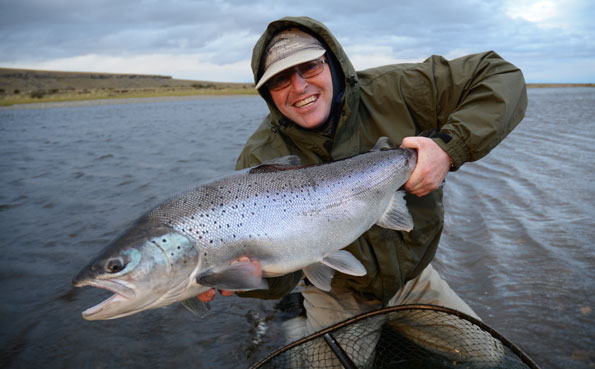 tony quine with a cracking sea trout on sportquest holidays hosted sea trout trip