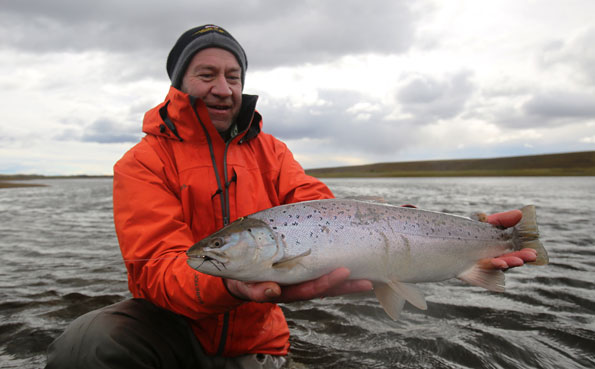 kevin holding up another fresh sea trout