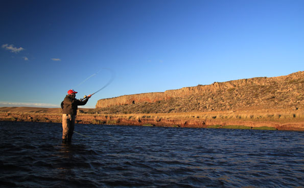 lawson casting fly fishing for sea trout on hosted trip in argentina