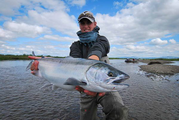 a very fresh salmon from Alaska west fly fishing camp