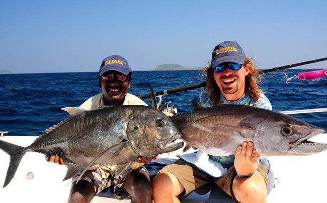 A GT and Dogtooth tuna at the same time Andaman Fishing Report