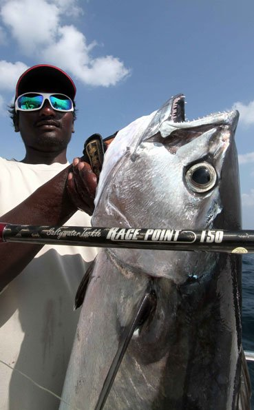 The teeth on this dogtooth tuna are huge Andaman Fishing Report