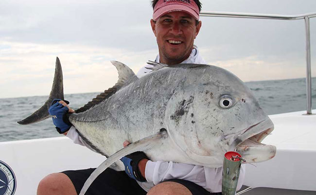 He is proud of his popper caught GT Sri Lanka Fishing Report