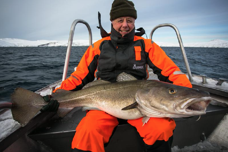 David with his biggest Skrei Cod fishing report norway in March