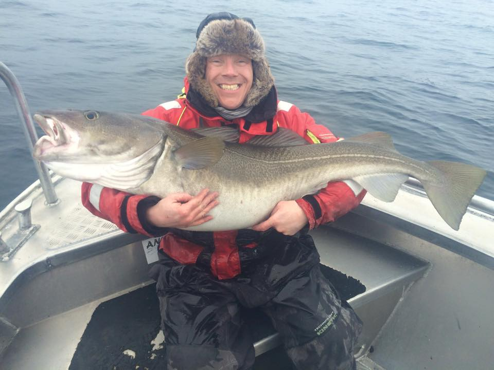 Clinton holding a big Cod Fishing Report Norway