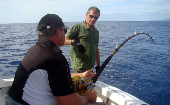 Playing a big Marlin Azores Fishing Report