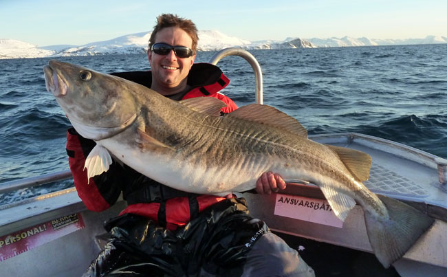Ian with a male Cod in my Fishing report Norway
