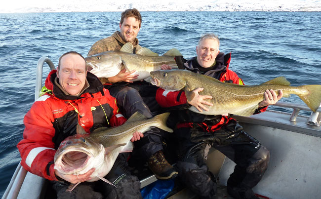 My boat of anglers three men sharing memories Fishing report Norway