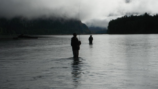 a moody day and perfect weather for spey fishing for salmon in alaska, perfect Spey Fishing Etiquette