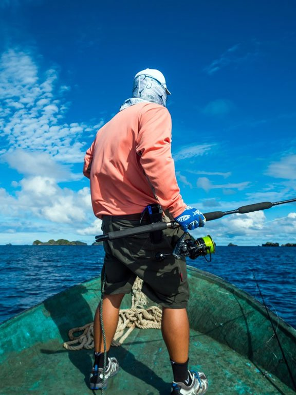 Angler standing ready to cast Indonesia Fishing Report