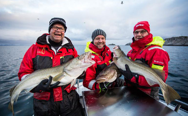 3 Happy anglers Cod Norway Fishing Report