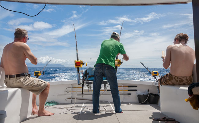 View of the back of the boat in Azores fishing report